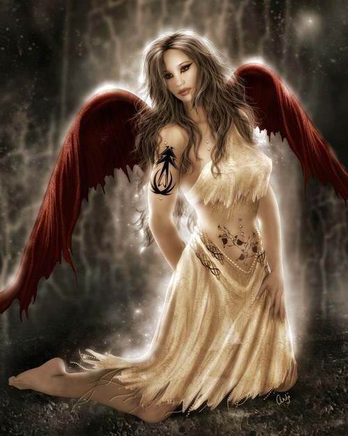 dans fond ecran ange rouge ange510