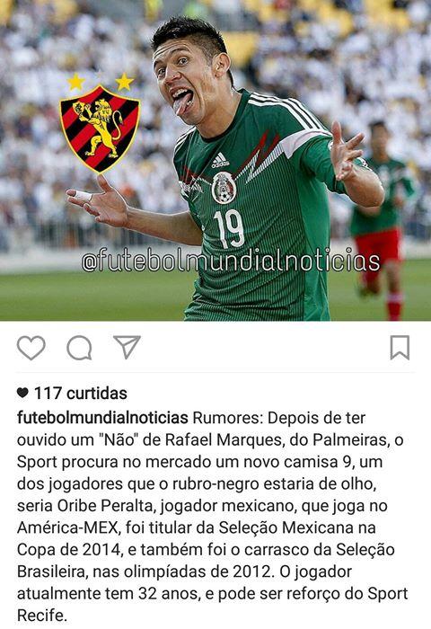 16318d7a8 twitter diz que Sport Fechou com o atacante Oribe Peralta