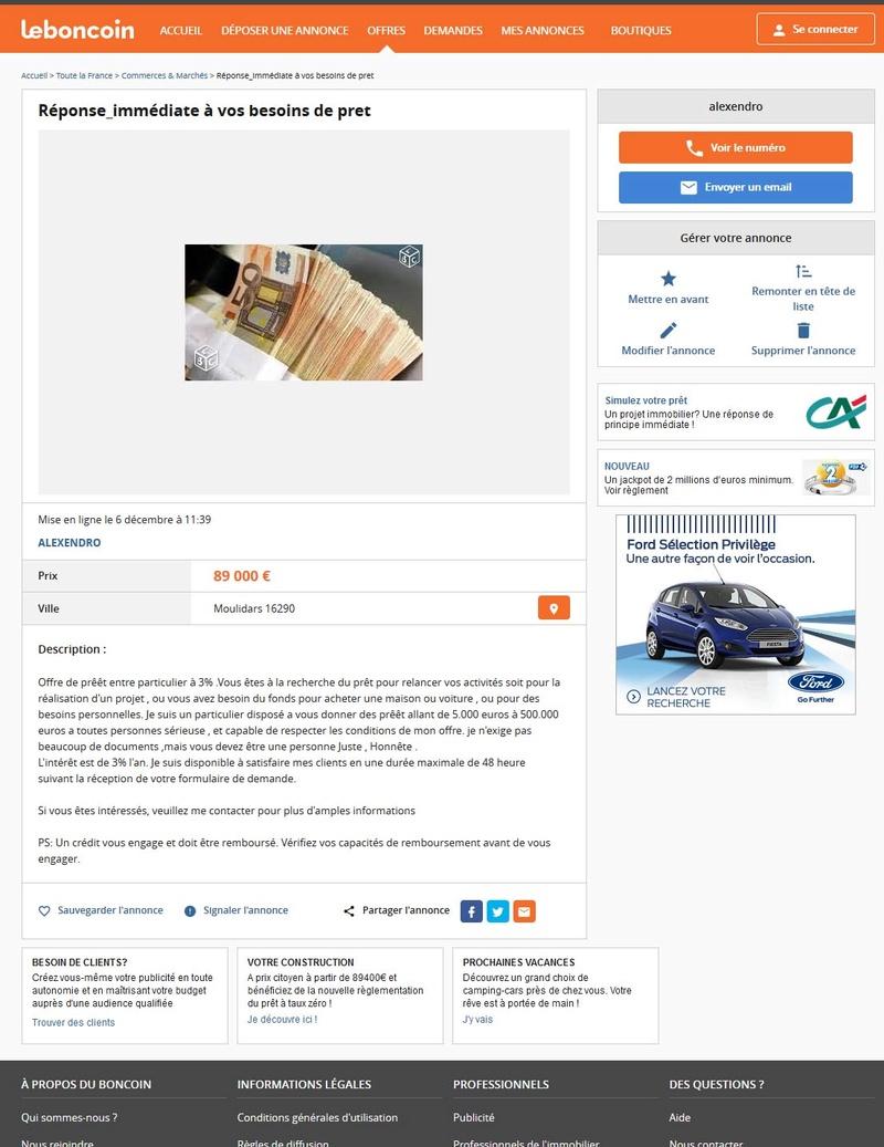 arnaque au cr dit vir e sur leboncoin forum de signal arnaques. Black Bedroom Furniture Sets. Home Design Ideas