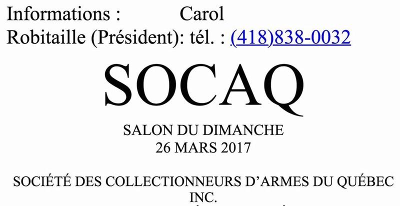 Salon des armes de qu bec le dimanche 26 mars 2017 for Salon armes