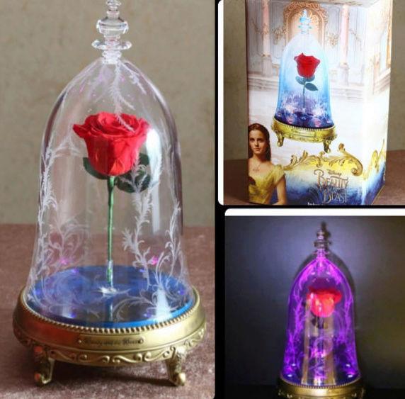 Bijoux la belle et la bete swarovski - Rose sous cloche la belle et la bete ...