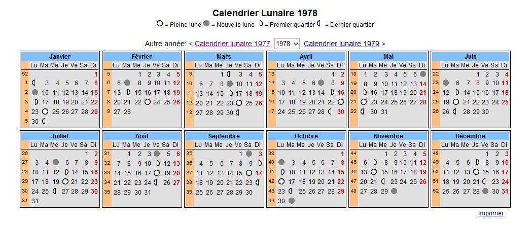 calendrier 1978 imprimer