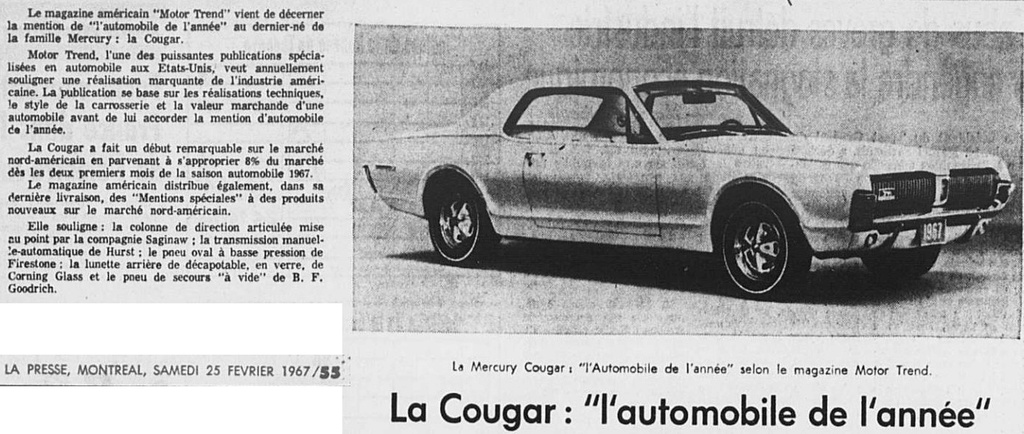 la cougar voiture de l 39 ann e en 1967 selon motor trend. Black Bedroom Furniture Sets. Home Design Ideas