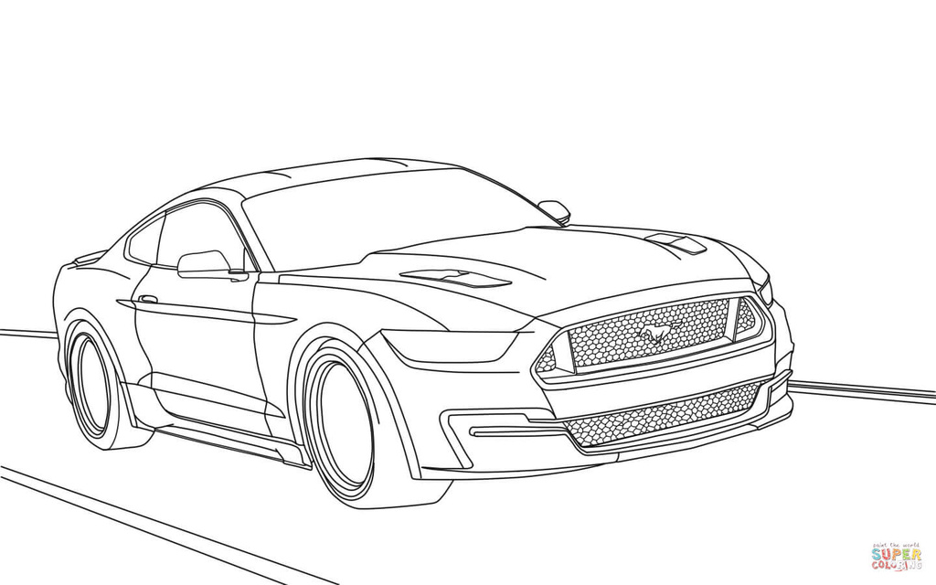 T130 Mustang A Colorier on 2014 ford shelby gt500