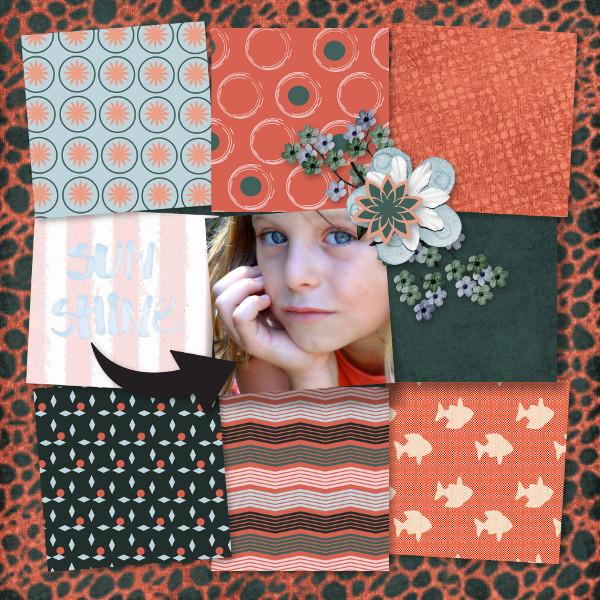 mosaiques template simplette page crystal RAK Caroline - kit Funny Summer de Xuxper