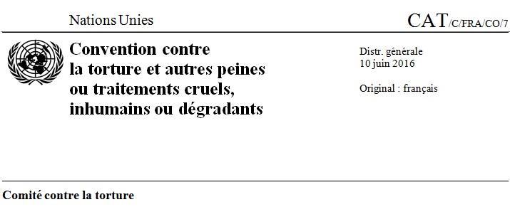 Le Comité contre la Torture de l'ONU s'adresse à la psychiatrie française