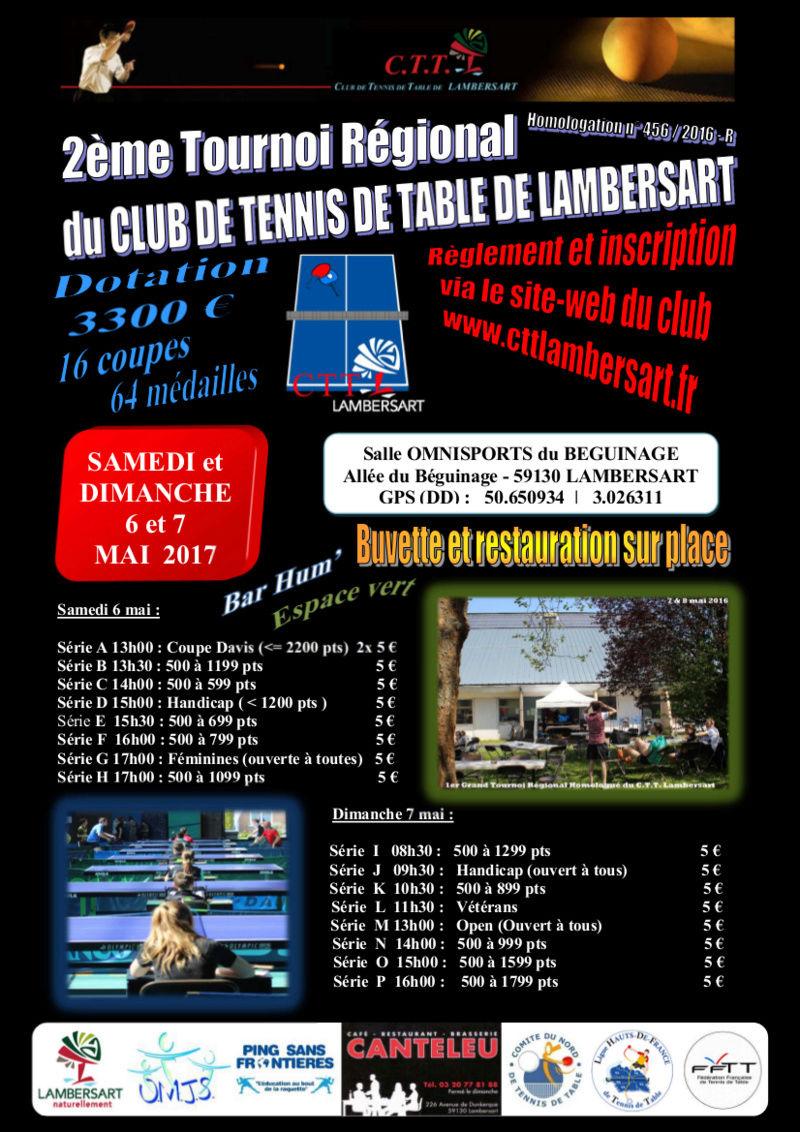 Tournoi rgional du c t t lambersart 59 6 7 mai 2017 - Ligue du nord pas de calais de tennis de table ...