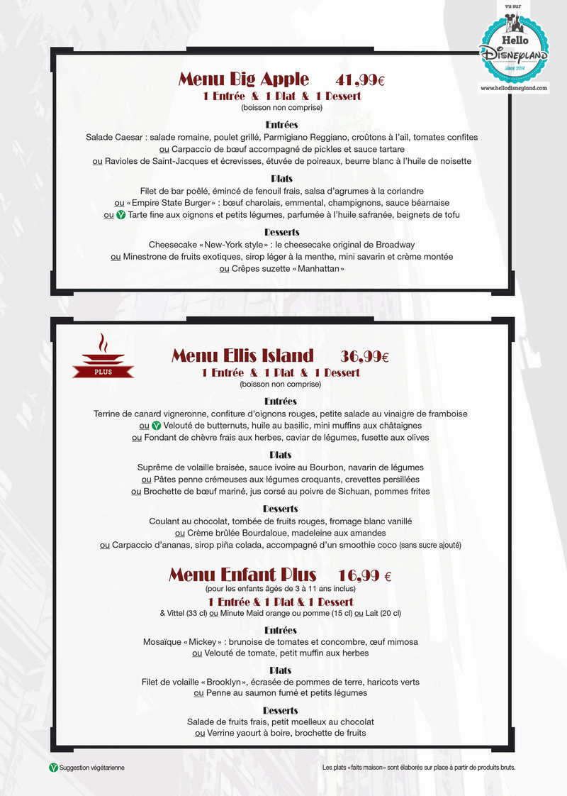 Cartes des restaurants de disneyland paris for Table 52 gaborone menu